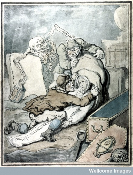 Two men placing the shrouded corpse which they have just