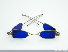 L0059071 Turn pin spectacles, steel wire, eye preservers, double fold