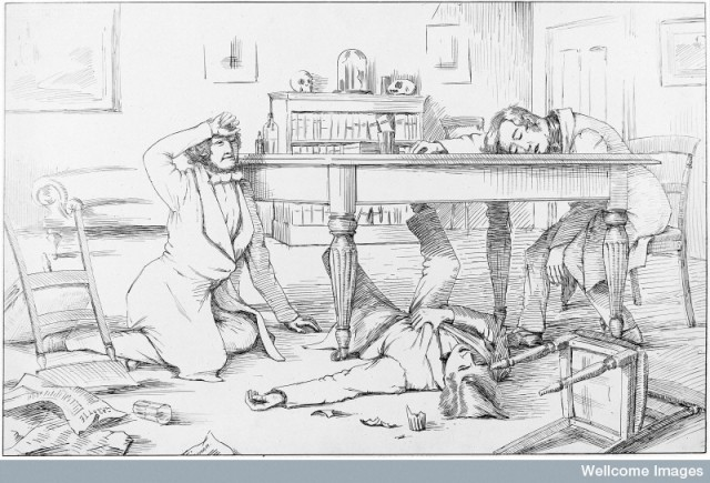 M0003274 Sir J. Y. Simpson and two friends, having tested chloroform