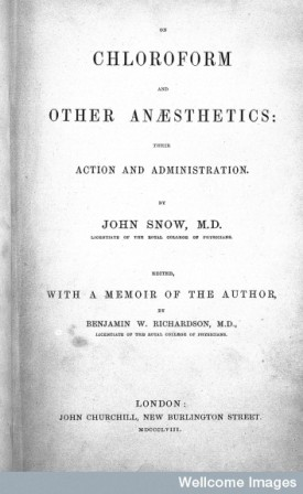 "L0000578 J. Snow, ""Chloroform and other anaesthetics"", title page"