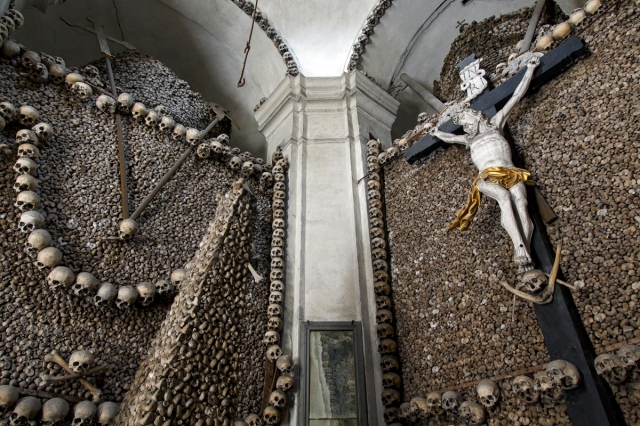 Kolin, Czech Republic, 18th century charnel house featuring a life sized crucifixion WEB