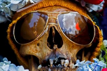 La Paz, Bolivia, skull wearing sun glassesl at the annual skull festival in the Cemetery General WEB