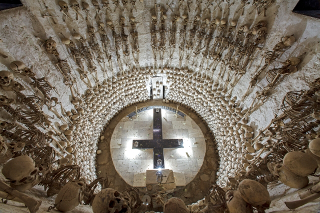 Lampa, Peru looking down into large ossuary tomb beneath the town's church WEB