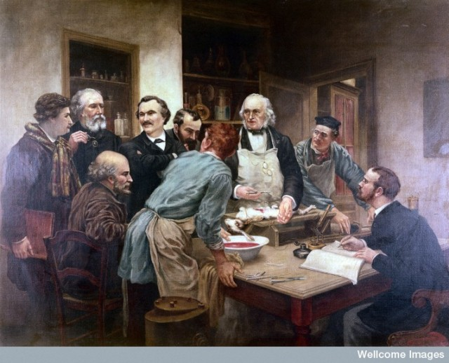 L0006244 Claude Bernard and his pupils. Oil painting after